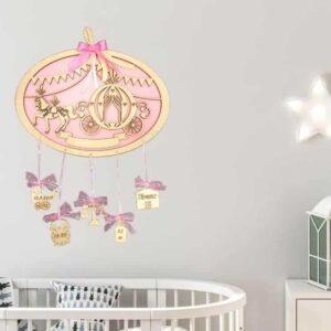 Ξύλινο Αναμνηστικό Γέννησης Πριγκιπική Άμαξα ροζ