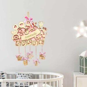 Ξύλινο Αναμνηστικό Γέννησης ABC Με Ζωάκια ροζ