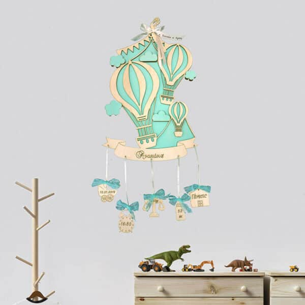 Αναμνηστικό Γέννησης Αερόστατα τιρκουάζ