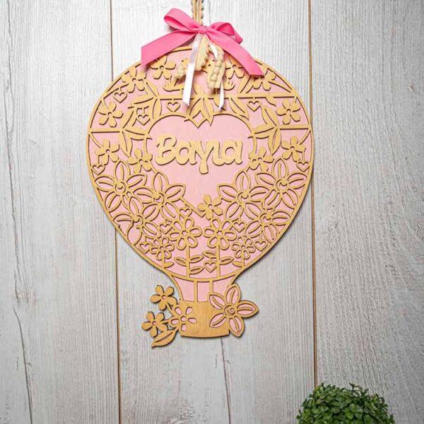Αναμνηστικό Γέννησης Αερόστατο ροζ