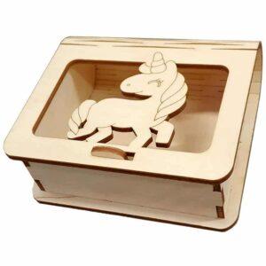 Ξύλινο Κουτί Μπομπονιέρας Μονόκερος