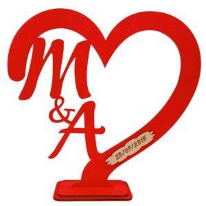 Δώρο Αγίου Βαλεντίνου Καρδιά Με Αρχικά Κόκκινο