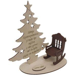 Ξύλινο Χριστουγεννιάτικο Σταντ Δέντρο Με Καρεκλάκι