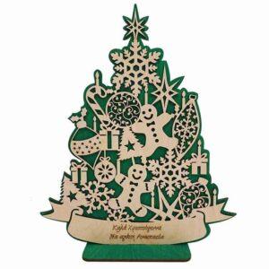 Ξύλινο Χριστουγεννιάτικο Σταντ Δέντρο Με Στολίδια