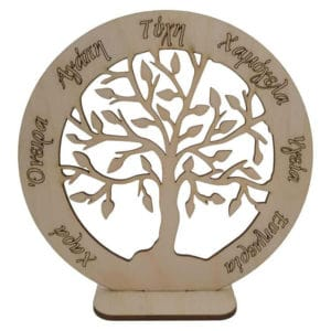 Χριστουγεννιάτικο Σταντ Δέντρο Ζωής Με Ευχές