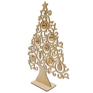 Ξύλινο Χριστουγεννιάτικο Δέντρο Με Μπάλες Ξύλου