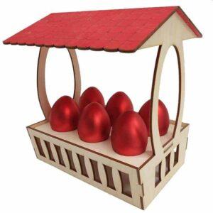Ξύλινη Πασχαλινή Αυγοθήκη Καλάθι 6 αυγών