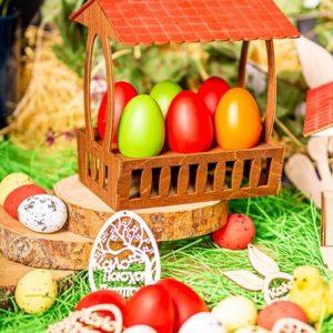 Ξύλινη Πασχαλινή Αυγοθήκη Καλάθι 6 αυγών Καφέ