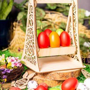 Ξύλινη Πασχαλινή Αυγοθήκη Κούνια 6 αυγών