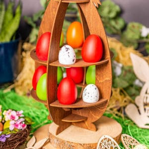 Ξύλινη Πασχαλινή Αυγοθήκη Φιόγκος 16 αυγών Καφέ