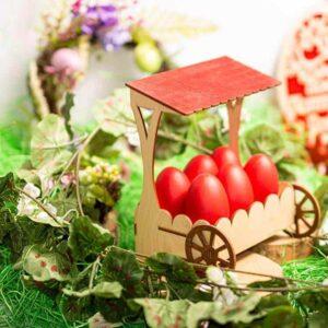 Ξύλινη Πασχαλινή Αυγοθήκη Καροτσάκι 6 αυγών
