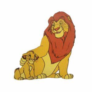 Ξύλινο Έγχρωμο Στοιχείο Lion King Και Σίμπα