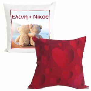 Μαξιλάρι Δίχρωμο Τρισδιάστατες Κόκκινες Καρδιές