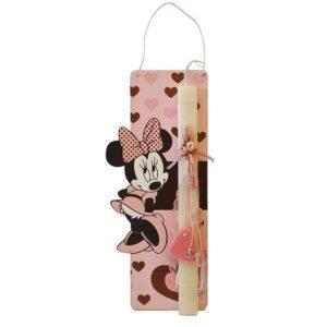 Ξύλινη Πασχαλινή Λαμπάδα Minnie Mouse