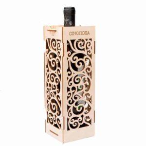 Ξύλινη Συσκευασία Κρασιού με μπουκάλι