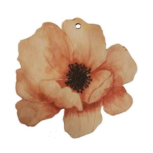 Ξύλινο Μπρελόκ λουλούδι