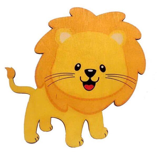 Ξύλινο Έγχρωμο Στοιχείο Λιοντάρι
