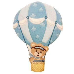 Ξύλινο Έγχρωμο Στοιχείο Αρκουδάκι Αερόστατο