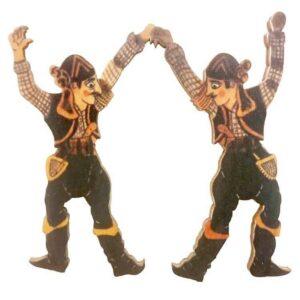 Ξύλινο Έγχρωμο Στοιχείο Πόντιοι Χορευτές