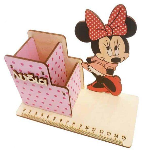 ξύλινη έγχρωμη Μολυβοθήκη Minnie Mouse